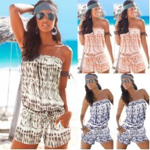 Womens Bandeau Off Shoulder Playsuit Beach Bikini Coverup Jumpsuit Holiday Dress