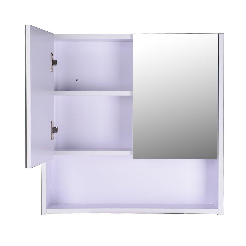 Homcom wall mount mirror cabinet wood bathroom storage - Wall mounted mirrored bathroom cabinet ...