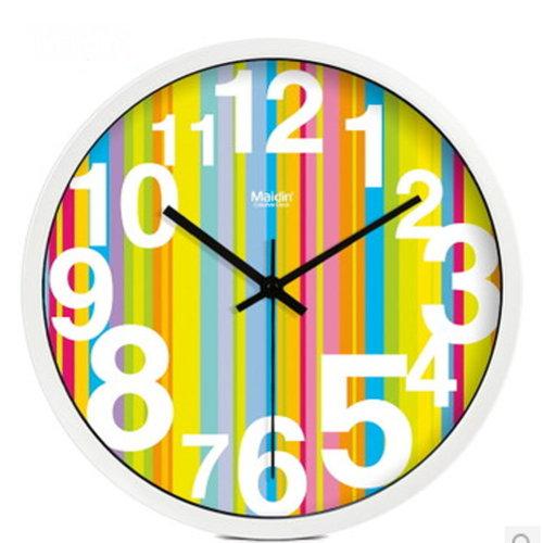 (YELLOW Stripes) 10-inch Silent fashion Art Pastoral Round Wall Clock (NO.018)