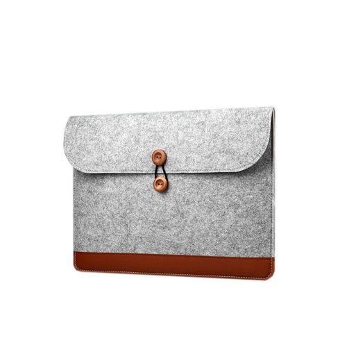 Gray Felt Laptop Case Cover 15 Inch Simple Style Computer Bag