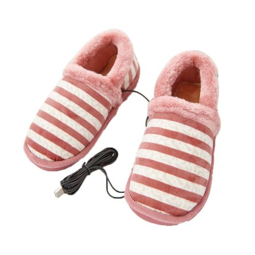 [Pink Stripe] Heating Shoes Warm USB Electric Heated Slipper usb Foot Warmer for Winter 24cm