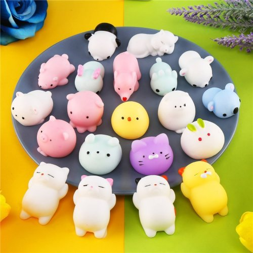 CCINEE 20 Squeeze Toys Soft Squishy Stretchy Toys Kawaii Mochi Animal Squishy Toy for Party Bag Filler Stress Release