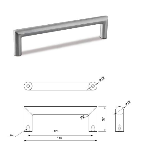 SMALL DOOR PULL HANDLE Stainless Steel C Bar Straight Bolt Fixing 128mm Pack of 1