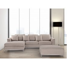 Modern Sectional Sofa in Fabric with Ottoman - OSLO