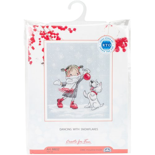 """Dancing With Snowflakes Counted Cross Stitch Kit-6.75""""X8.25"""" 14 Count"""