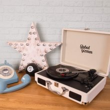 Global Gizmos Portable Bluetooth Retro Suitcase Turntable with Built In Speakers and MP3 Transfer - Cream