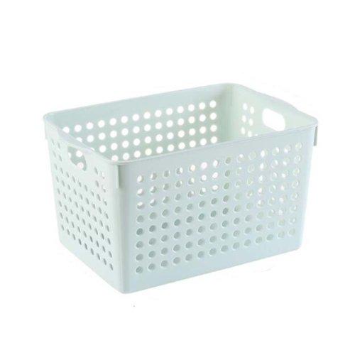 Plastic Storage Organizing Basket Closet Shelves Organizer Bins Set of 2