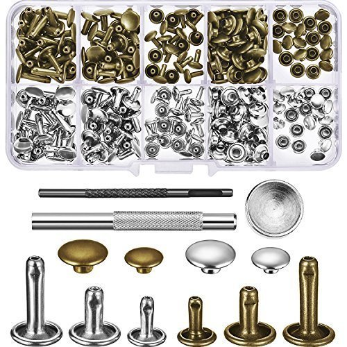 120 Set Leather Rivets Double Cap Rivet Buttons with Setting Tool Kit and Storage Box for DIY Leather Craft, 3 Sizes (Silver and Bronze)