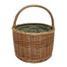 Green Tweed Round Wicker Chiller Basket