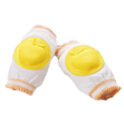 Set of 2 Cotton Mesh  Baby Leg Warmers Knee Pads/Protect-Apple, Yellow