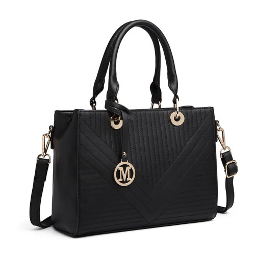 (Black) Miss Lulu PU Leather Quilted Design Handbag