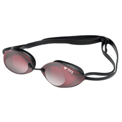 TYR Tracer Racing Metallized Swimming Goggles - Red Silver Metallized