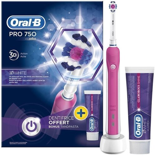 Oral-B PRO 750 Pink 3DWhite Electric Toothbrush & Toothpaste Bundle
