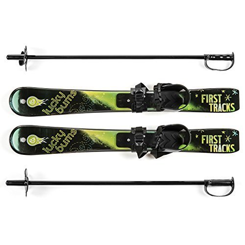 Lucky Bums Toddler Kids Beginner Snow Skis and Poles Set Green