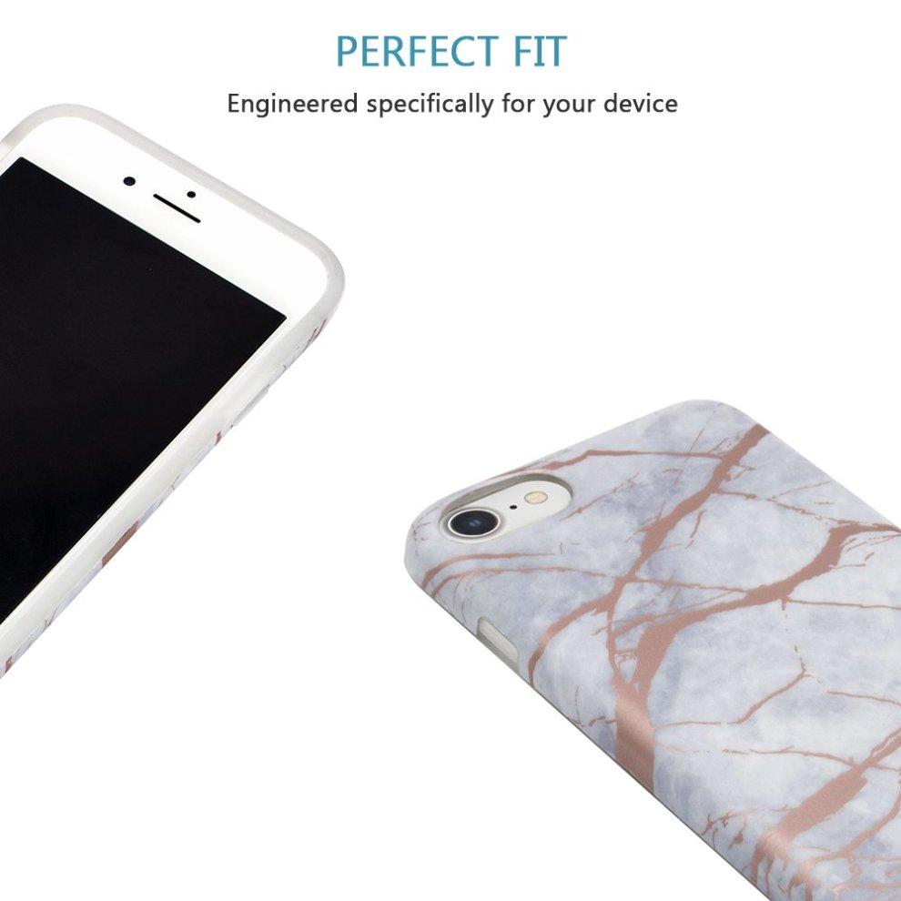 Iphone 8 Case Iphone 7 Case Ucmda White Rose Gold Marble Design Clear Bumper Silicone Case Soft Gel Rubber Shockproof Protective Case Cover For