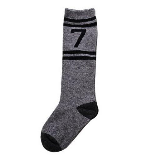 Comfortable Soft Children's Sports Long Socks, Black Gray Number 7