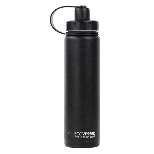 Ecovessel Boulder 700ml Hot Cold Drinks Water Bottle & Strainer  Black Shadow