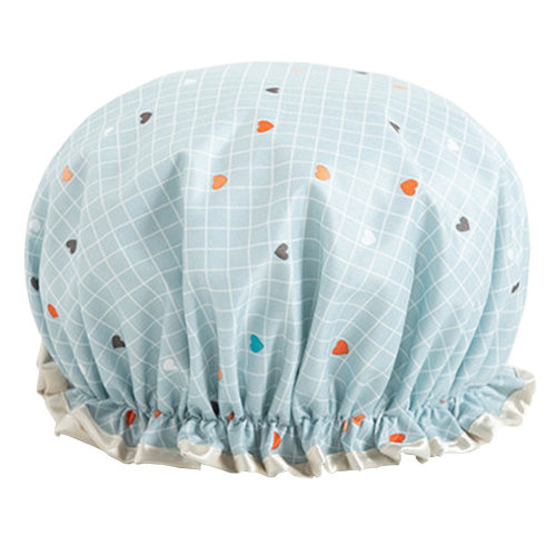 Womens Stylish Design Mold-resistant Shower Cap Double Layers Waterproof Bath Cap,I