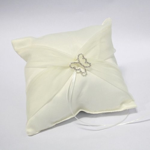 Butterfly Satin Ring Cushion With Organza Sash - Ivory