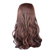 "One-piece Curly Wave Clip-on Hair Extensions Hairpieces 5 Clips 20"" -Light Brown"