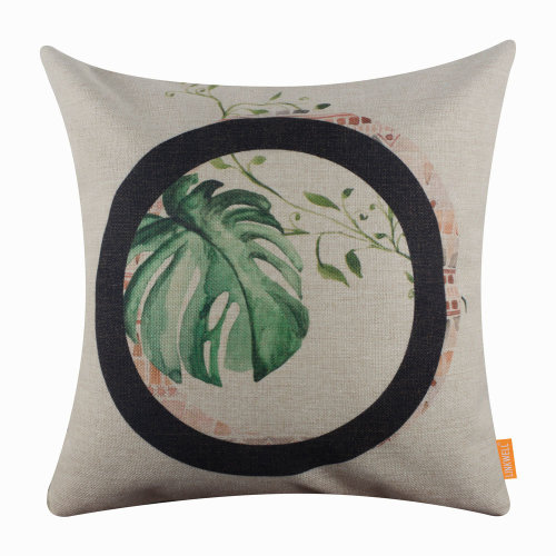 """18""""x18"""" Tropical Leaf Letter O Burlap Pillow Cover Cushion Cover"""