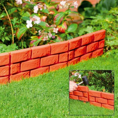 4 X Terracotta Instant Brick Effect Hammer in Garden Lawn Edging Plant Border