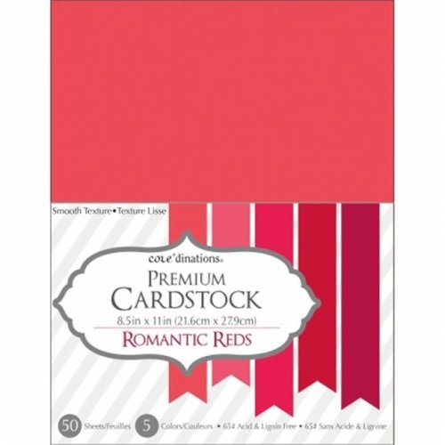 Coredinations Value Pack Cardstock, Romantic Reds - 8.5 x 11 in.