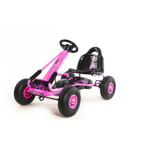 RideonToys4u Top Racer Pedal Go Kart With Rubber Air Wheels,Gear Brake Lever + Adjustable Seat Colour Pink Ages 3-7 Years