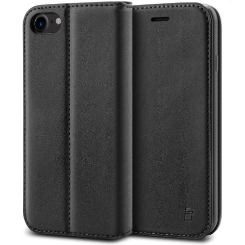 cheap for discount 94dab d2f28 iPhone 7 Case, BEZ® Protective PU Leather Wallet Flip Case Cover for iPhone  7 with Card Holders, Kick Stand, Magnetic Closure - Black
