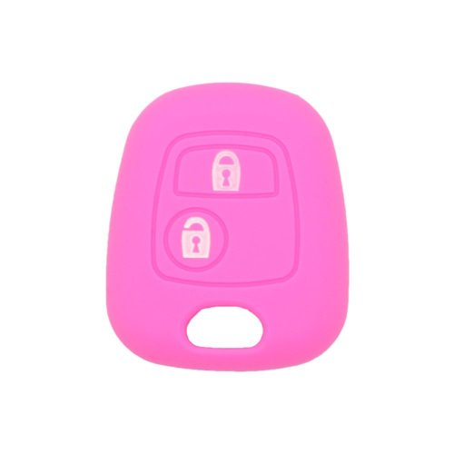 Fassport Silicone Cover Skin Jacket fit for PEUGEOT CITROEN 2 Button Remote Key Without Emblem CV9304 Pink