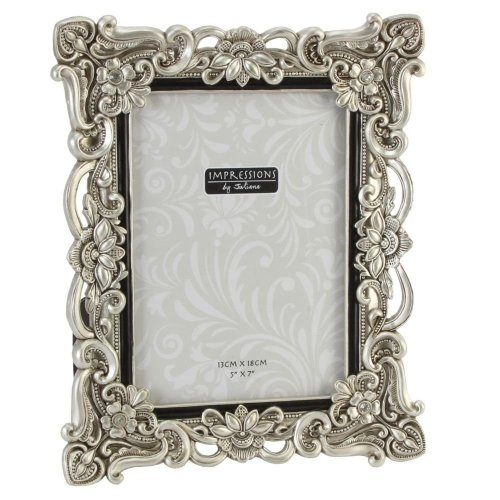 Impressions - Antique Silver - Floral Resin Frame with Crystals - 5 x 7