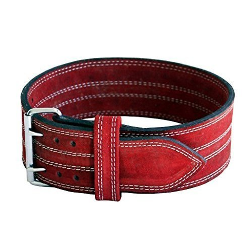 Ader Leather Power Lifting Weight Belt 4 Red Medium