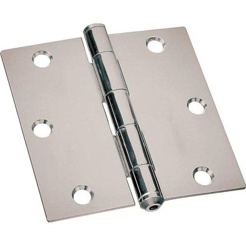 3.5 x 3.5 in. Square Corner Wide Utility Hinge Door Leaf - Steel, Zinc Plated