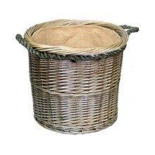 Medium Antique Wash Round Rope Handled Log Basket