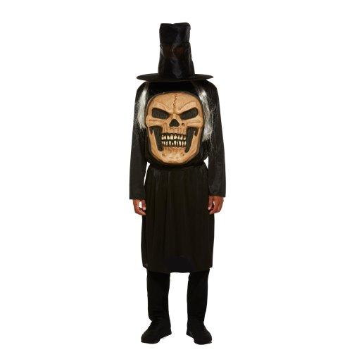 Childs Skull Jumbo Face Costume Boys Halloween Skeleton Fancy Dress Kids Outfit