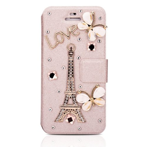 2cdad25ab6f3 Infinite U Jewellery Butterfly Eiffel Tower Wallet Credit Card Holder Cell  Phone Leather Case/Cover for iPhone 5/5S