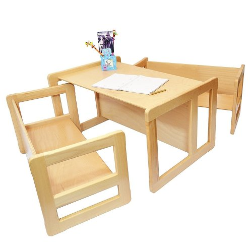 Obique Multifunctional Furniture Set of 3, 2 Benches & 1 Table,Natural