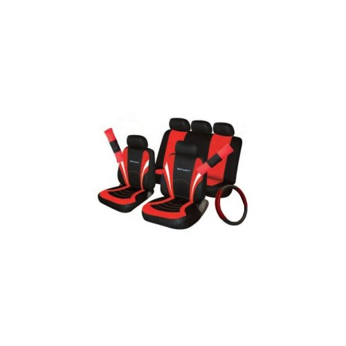 Car Seat, Steering Wheel & Seatbelt Cover Sport - Set - Black/Red