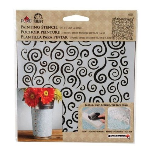 Plaid 30609 Swirl Painting Stencil  Plastic  6 x 6 in. - pack of 3