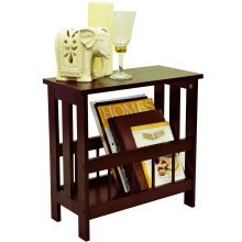 MISSION - Solid Wood Sofa Side Table / Magazine Storage - Mahogany