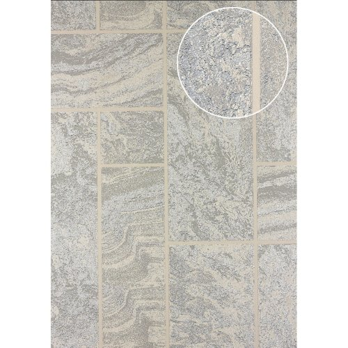 Atlas 24C-5061-3 Stone tile wallpaper metallic highlights white 7.035 sqm