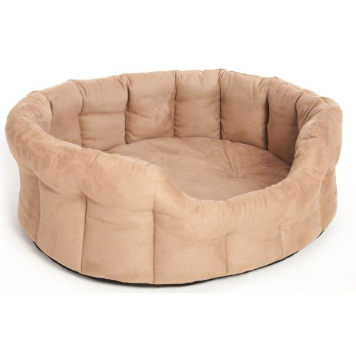 Premium Oval Drop Front Softee Bed Faux Suede Tan Size 5 76x64x24cm