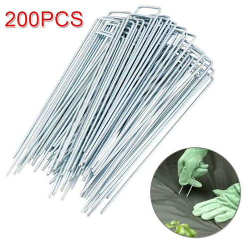 200PCS GALVANISED METAL U PINS GROUND STAKES CAMPING GAZEBO TARPAULIN PEGS HOOKS