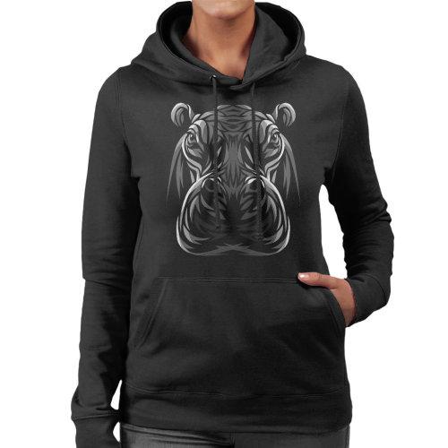 Tribal Hippo Women's Hooded Sweatshirt