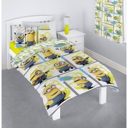 MINIONS Character Despicable Me Film Make You Try Harder Rotary Single Duvet Cover and Pillow Case