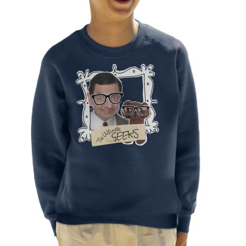 (X-Small (3-4 yrs), Navy Blue) Mr Bean And Teddy The Ultimate Geeks Kid's Sweatshirt