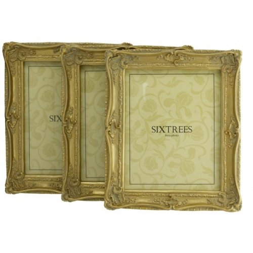 TRIPLEPACK Sixtrees Chelsea 5-250-80 Shabby Chic Very Ornate Antique Gold 10x8 inch Photo Frames