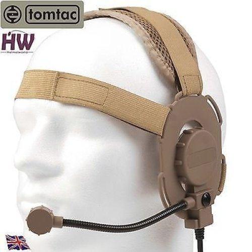 Airsoft Tomtac Bowman Evo Iii 3 Headset Boom Mic Tan Sand De Helmet Radio Z