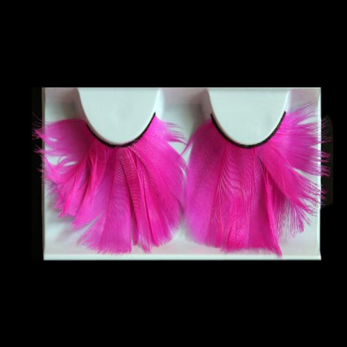 Hand Made Stage Performance Rose Red Feather False Eyelashes 5 Pairs