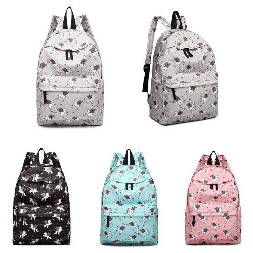 Miss Lulu Boys Girls Unicorn Print Canvas Backpack School Bag